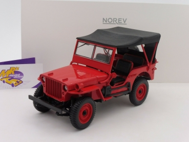 "Norev 189014 # US Jeep Willys Baujahr 1942 mit Verdeck in "" rot "" 1:18"