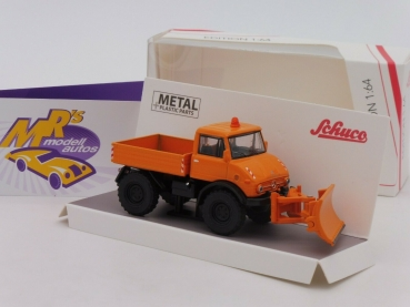 "Schuco 20202 # Mercedes Benz Unimog U 406 Pritsche orange "" Winterdienst "" 1:64"