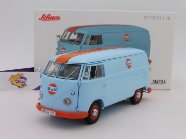 "Schuco 00368 # VW Bus T1b Kasten hellblau-orange "" GULF Racing "" 1:18 f. MHI"