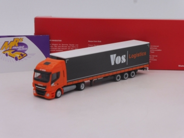 "Herpa 312110 # Iveco Stralis NP Lowliner-Sattelzug "" VOS Logistics "" 1:87"