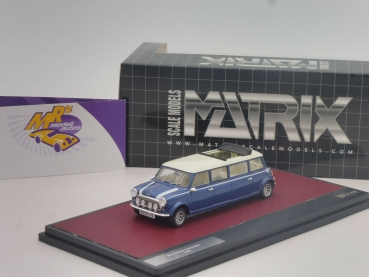 "Matrix 30110-032 # Mini Cooper Limousine Langversion Baujahr 1995 "" blaumetallic-weiß "" 1:43"