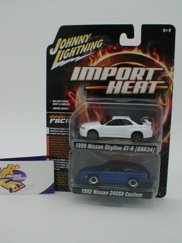 Johnny Lightning JLPK004 - 2er Set Import Heat m. Nissan Skyline + Nissan 240 SX 1:64