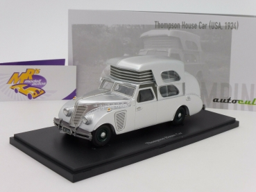 "Autocult 09010 # Thompson House Car Wohnmobil Baujahr 1934 in "" silber "" 1:43"