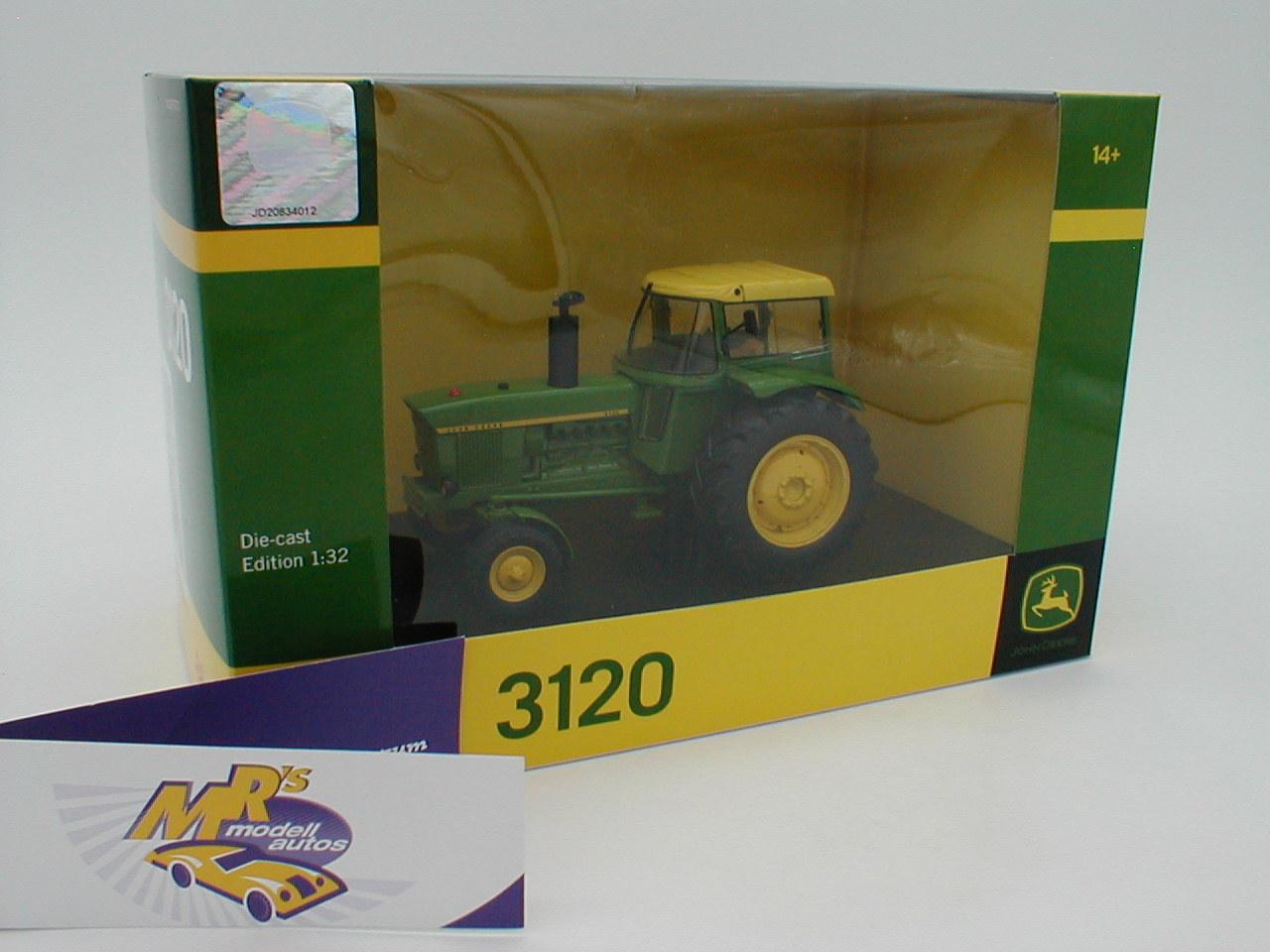 """gelb /"""" 1:32 John Deere 3120 mit Verdeck Bj Schuco 07677 1969-1972 /"""" grün"""